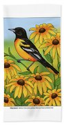Maryland State Bird Oriole And Daisy Flower Bath Towel by Crista Forest