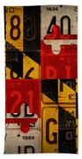 Maryland State Flag Recycled Vintage License Plate Art Hand Towel