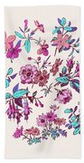 Meadow Flower And Leaf Wreath Isolated On Pink, Circle Doodle Fl Bath Towel