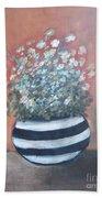 Meadow Flowers In Striped Vase  Bath Towel