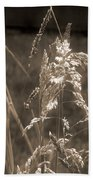 Meadow Grass In Sepia Bath Towel