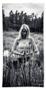 Meditation Meadow Bw Background Bath Towel