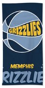 Memphis Grizzlies Vintage Basketball Art Bath Towel