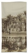 Men With Goats Under Palm Trees On The Water In Bedrechen, Bonfils, C. 1895 - In Or Before 1905 Bath Towel