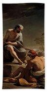Mercury Lulling Argus To Sleep By Ubaldo Gandolfi Bath Towel