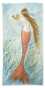 Mermaid And Her Catfish, Goldie Hand Towel