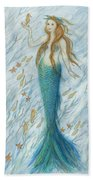 Mermaid And Her Golden Seahorse Hand Towel