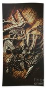 Metallic Birdlife Abstract Bath Towel