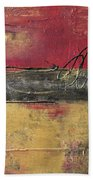 Metallic Square Series I - Red And Gold Urban Abstract Painting Bath Towel