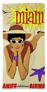 Miami Travel By Braniff Airways  1960 Bath Towel