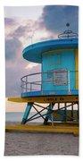 Miami Lifeguard Cabin At Sunrise Hand Towel