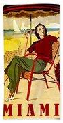 Miami, Woman On The Beach Under Sunshade Bath Towel