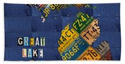 Michigan License Plate Map Great Lake State With Vintage Blue Plate Background Edition Bath Towel