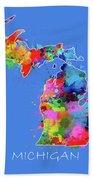 Michigan Map Color Splatter 3 Bath Towel