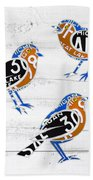 Michigan Robins State Bird Recycled Vintage License Plate Art On White Barn Wood Bath Towel