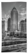 Midtown Atlanta Dusk B W Atlanta Construction Art Bath Towel