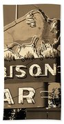 Miles City, Montana - Bison Bar Sepia Bath Towel