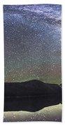 Milky Way Panorama At Cameron Lake Bath Towel