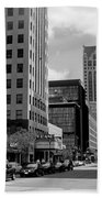 Milwaukee Street Scene B-w Bath Towel