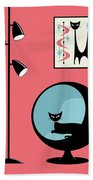 Shower Curtain Mini Atomic Cat On Pink  Bath Towel