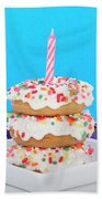 Mini Donut Cake With  Blue Candle By Sheila Fitzgerald Mini Donut Cake With Pink Candle Bath Towel