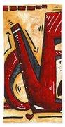 Mini Pop Art Gold Red Love Original Painting By Madart Bath Towel