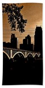 Minneapolis Skyline In Copper Bath Towel