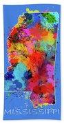 Mississippi Map Color Splatter 3 Bath Towel