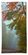 Misty Autumn Road Bath Towel