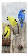 Misty Morning Meadow- Goldfinches And Bluebird Bath Sheet