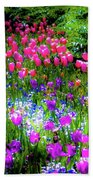 Mixed Flowers And Tulips Bath Towel