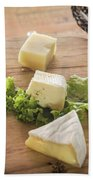 Mixed French Cheese Platter With Bread Bath Towel