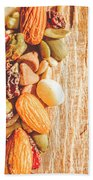 Mixed Nuts On Wooden Background Bath Towel