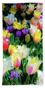 Mixed Tulips In Bloom  Bath Towel