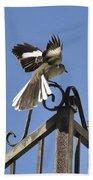 Mockingbird Landing On Fence Bath Towel