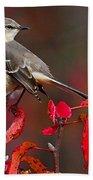 Mockingbird On Red Bath Towel