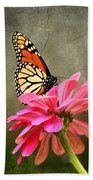 Monarch Butterfly And Pink Zinnia Bath Towel
