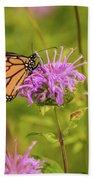Monarch Butterfly On Bee Balm Flower Bath Towel