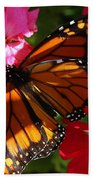 Monarch On Summer Geraniums Bath Towel