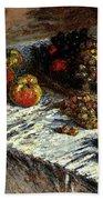 Monet Claude Still Life Apples And Grapes Bath Towel