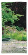 Monet's Garden Pond And Boat Bath Towel