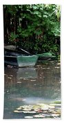 Monets Rowboats Bath Towel