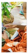 Monks Blessing Buddhist Wedding Ring Ceremony In Cambodia Asia Bath Towel