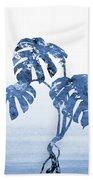 Monstera Leaf-blue Bath Towel