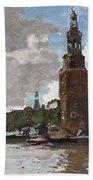 'montelbaanstoren' In Amsterdam By Cornelis Vreedenburgh Dutch 1880-1946 Bath Towel