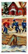 Montreal Hockey Rinks Urban Scene Bath Towel