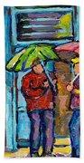Montreal Rainy Day Paintings April Showers Umbrella Conversation At Wilensky's Deli C Spandau Quebec Bath Towel
