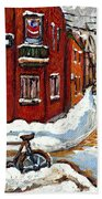 Montreal Street In Winter La Ville En Hiver Buy Montreal Paintings Petits Formats Peintures A Vendre Bath Towel