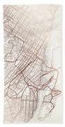 Montreal Street Map Colorful Copper Modern Minimalist Bath Towel