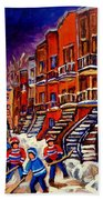 Montreal Street Scene Paintings Hockey On De Bullion Street   Bath Towel